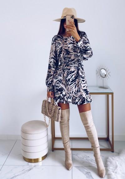 Sukienka CELINE w print zebry z wiązaniem 7