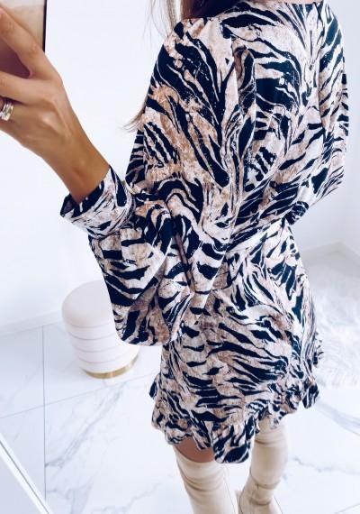 Sukienka CELINE w print zebry z wiązaniem 8