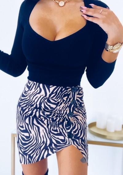 Spódnica TASHA w motyw zebry z guzikami KRÓTKA