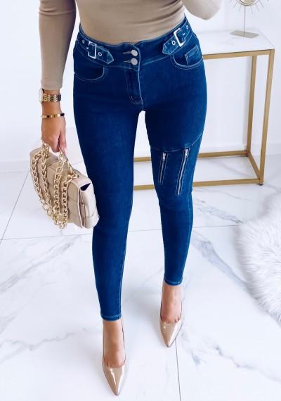 Spodnie BERNEY jeansowe z zamkami na nogawce
