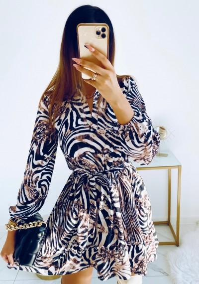 Sukienka LYDIA wiązana w pasie w print I