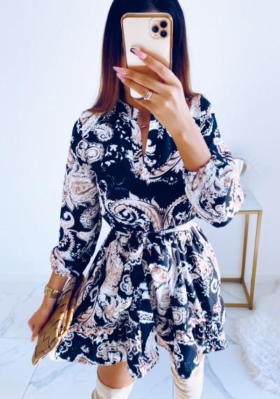 Sukienka LYDIA wiązana w pasie w print II
