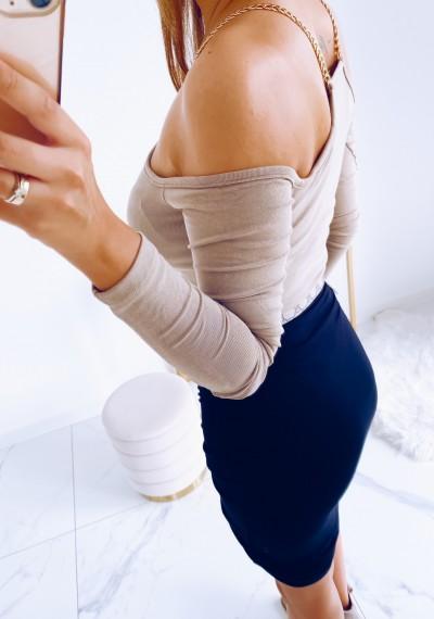 Spódnica LOLA z ozodbnym wiązaniem na przodzie CZARNA 4