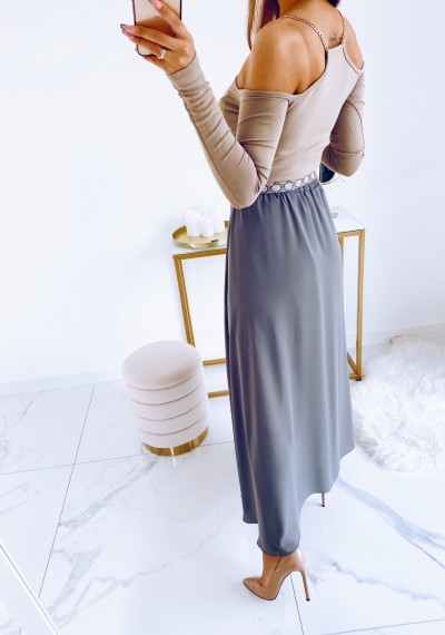 Spódnica TANYA asymetryczna tiul SZARA 10