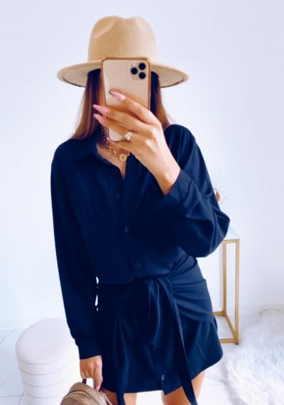 Sukienka SONYA koszulowa z wiązaniem CZARNA 3