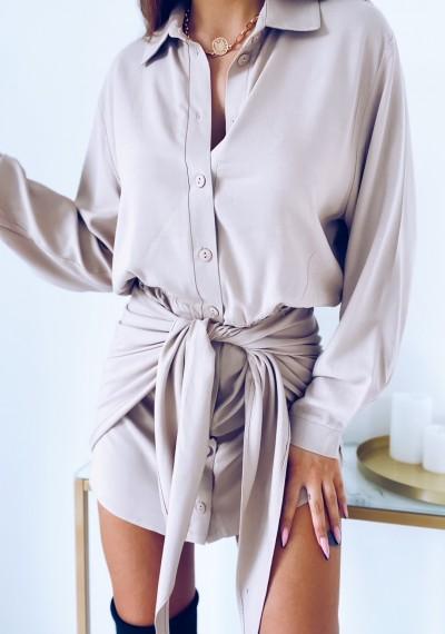Sukienka SONYA koszulowa z wiązaniem BEŻOWA 4
