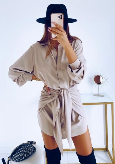 Sukienka SONYA koszulowa z wiązaniem BEŻOWA 9