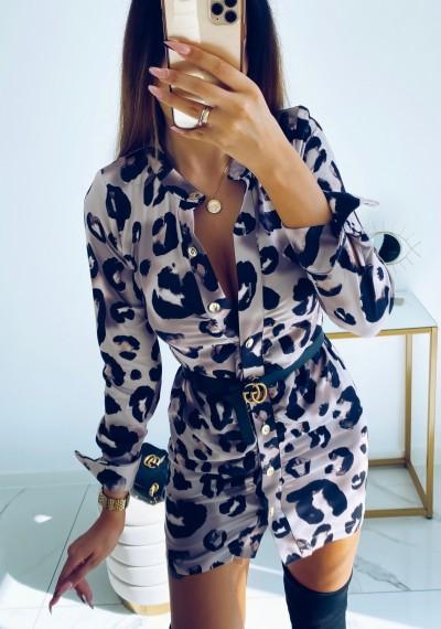 Sukienka CORNEL w print panterki na guziki