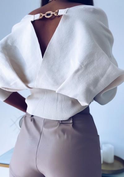 Bluzka ROMANO zakładana z ozodbnym elementem ECRU 4