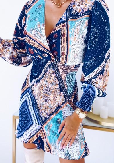 Sukienka CATYA ze ściągaczem w print NIEBIESKA