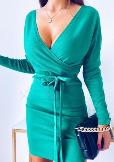 Sukienka KATYA zakładana w prążek wiązana w pasie ZIELONA