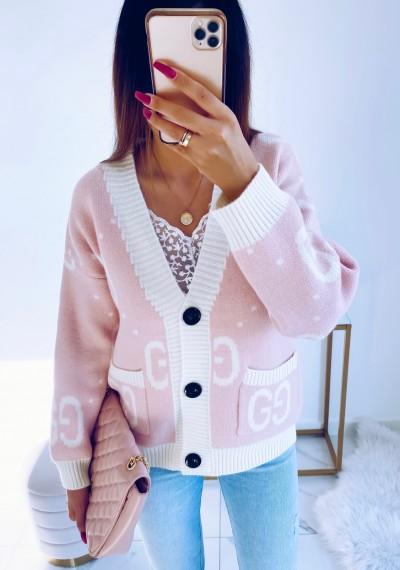 Sweter GWEN rozpinany różowy
