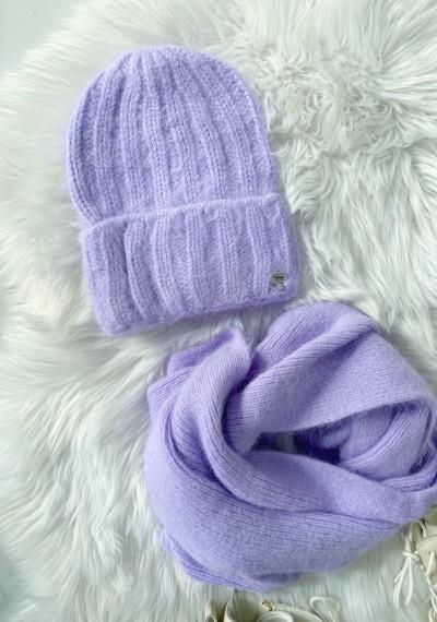Komplet czapka z szalikiem fiolet