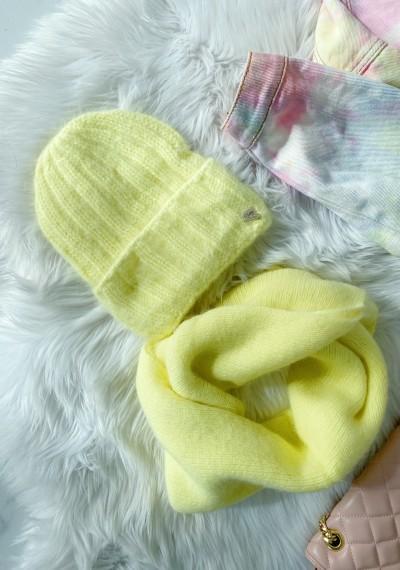 Komplet czapka z szalikiem żółta