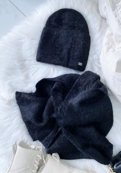 Komplet czapka z szalikiem czarna
