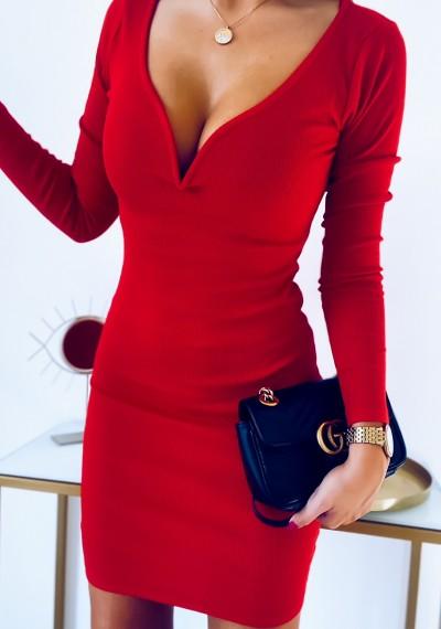 Sukienka JULIEN z profilowanym dekoltem CZERWONA