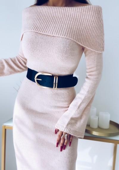 Sukienka FLORENCE długa swetrowa pudrowa
