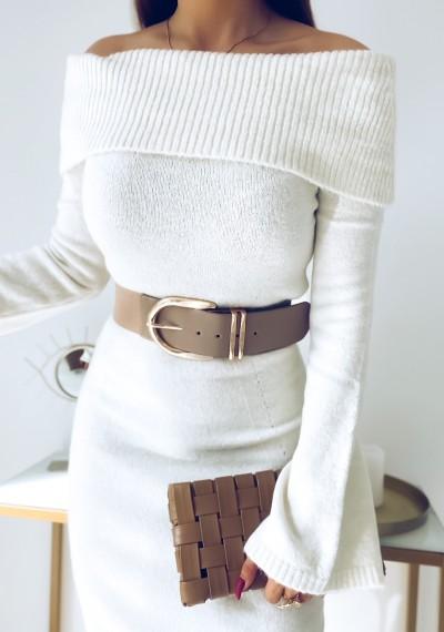 Sukienka FLORENCE długa swetrowa ECRU