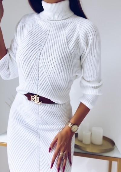 Komplet DENVER swetrowy biały