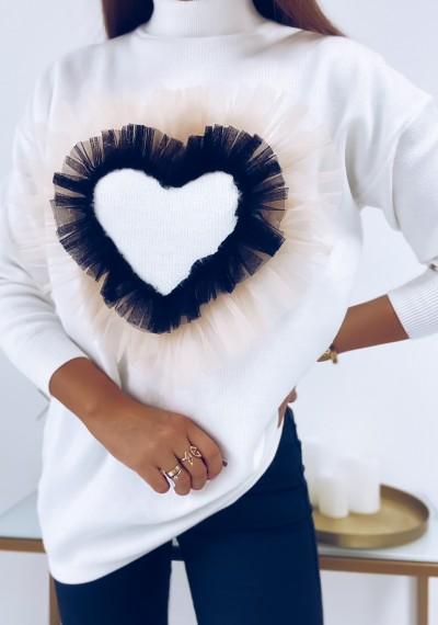 Sweter LOVE z ozodbną aplikacją tiulową serca WHITE
