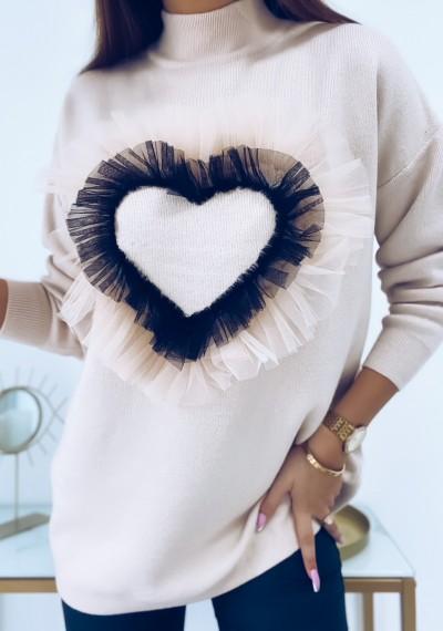 Sweter LOVE z ozodbną aplikacją tiulową serca BEIGE