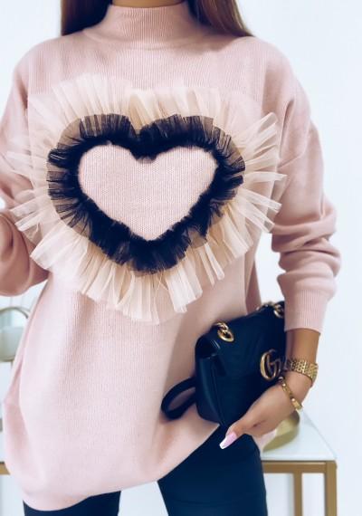 Sweter LOVE z ozodbną aplikacją tiulową serca ROSE