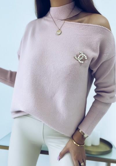 Sweter COLLIE z rozcięciem na ramieniu
