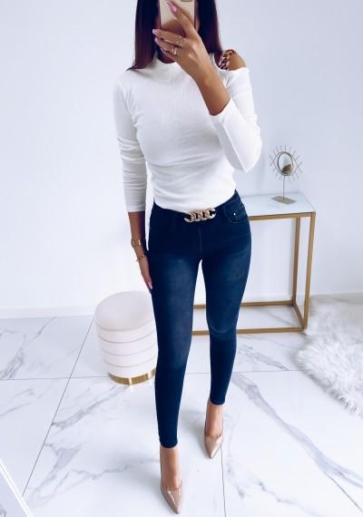 Spodnie MIRO ciemny szary jeans z łańcuchem