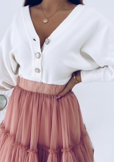 Sweter DORIAN z ozdobną koronką i guzikami biały