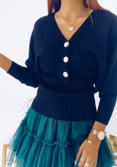 Sweter DORIAN z ozdobną koronką i guzikami CZARNY