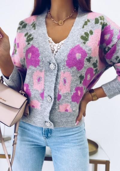 Sweter MONROE kwiaty ozodbne guziki