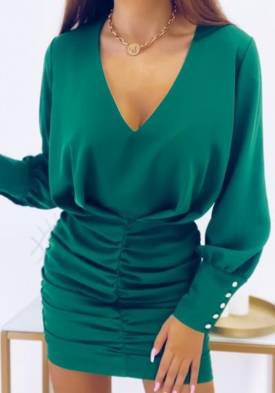 Sukienka MORIN z drapowaniem ZIELONA